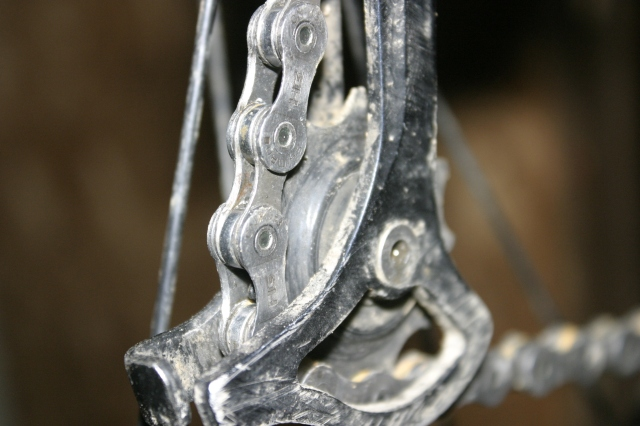 Normally a jockey pulley would be jammed up with a mixture of dirt and grease.  With a the wax it came out perfectly clean.