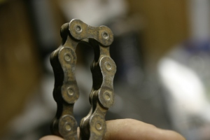 a chain after several waxings